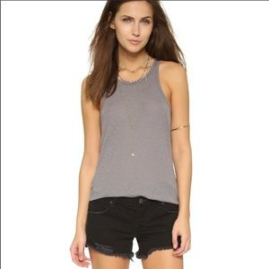Free People Beach grey ribbed stretch tank 1352